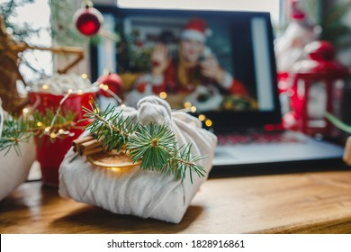 Christmas online holiday remote celebration X mas new year in lockdown coronavirus quarantine covid 19 new normal, social distance, remote communication, stay home vocation, selective focus - Shutterstock ID 1828916861