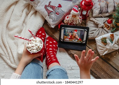 Christmas online holiday remote celebration X mas new year in lockdown coronavirus quarantine covid 19 new normal, social distance, remote communication, stay home vocation, Christmas party online - Shutterstock ID 1840441297