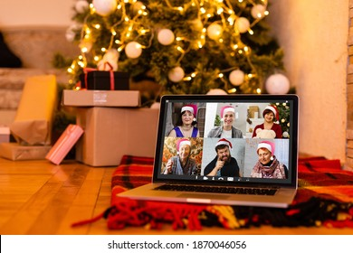 Christmas online holiday remote celebration X mas new year in lockdown coronavirus quarantine covid 19 new normal, social distance, remote communication, stay home vocation, Christmas party online - Shutterstock ID 1870046056