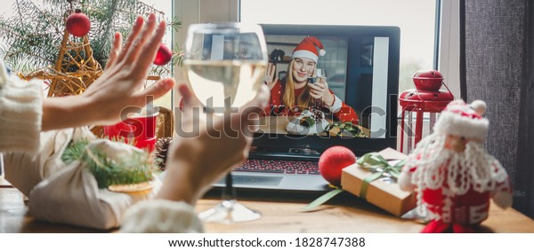 Christmas online holiday remote celebration X mas new year in lockdown coronavirus quarantine covid 19 new normal, social distance, remote communication, stay home vocation, Christmas party online