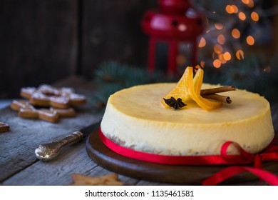 Christmas orange cheesecake with new years  decoration.