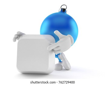 Christmas ornament character with blank keyboard key isolated on white background. 3d illustration