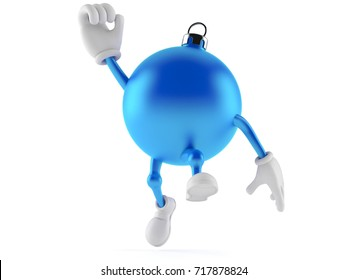 Christmas ornament character jumping on white background. 3d illustration