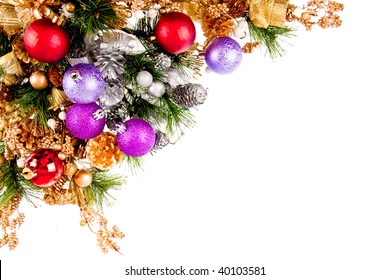 Christmas Ornament Coner Decoration Series isolated on white