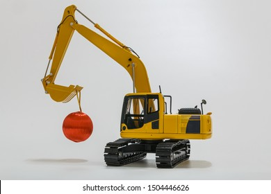Christmas ornament with Excavator model ,  Holiday celebration concept new year on white background