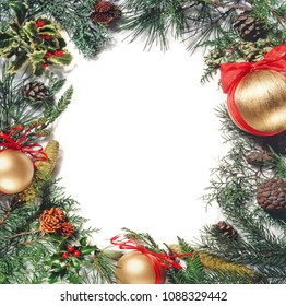 Christmas ornament forms a circular frame, white space to insert whatever you want