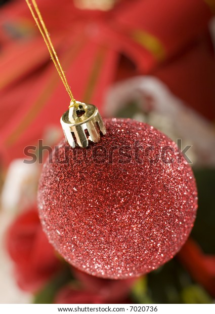 christmas ornament hanging from a tree close up