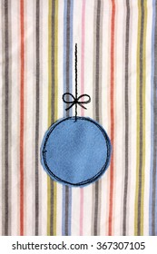 Christmas Ornament on fabric, embroidered christmas card with ornament, handmade