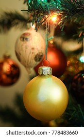 Christmas ornament on tree with blured background