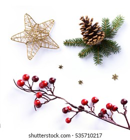Christmas ornament on white background; holiday design element.