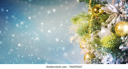 Christmas Ornament On Wooden Background With Snowflakes, Greeting card Merry Christmas and Happy New Year