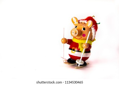 Christmas ornament of a pig skiing