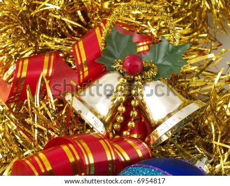 Christmas Ornaments Bells Ribbon On Gold Stock Photo Edit Now