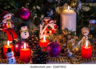 Christmas ornaments, decorations.