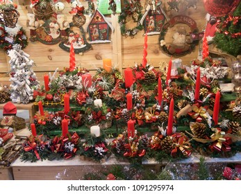 Christmas ornaments and decorations on a shopping stand
