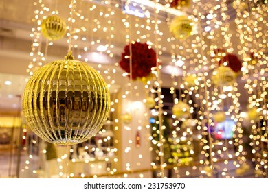 Christmas ornaments and decorations with shallow depth of field