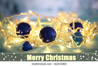 Christmas ornaments and garland close-up