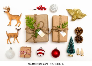 Christmas ornaments with gift boxes on a white background