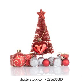 christmas ornaments isolated on white background