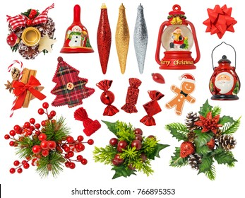 Christmas Ornaments Isolated on White Background. Contains: wreath, candies, lantern, tree, ornaments, spices, ribbon, bell
