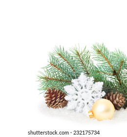 Christmas ornaments on Christmas tree isolated. Christmas border with ornament, present and snow