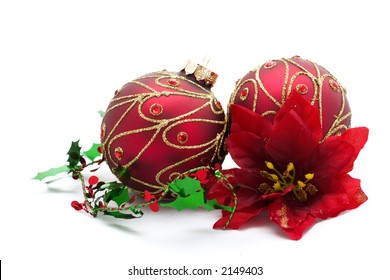 christmas ornaments and red poinsetta