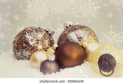 christmas ornaments with a sparkling star background bokeh