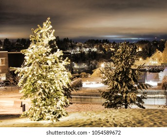 Christmas in Oslo. Snow and christmas lights all over town