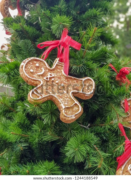 Christmas Painted Gingerbread Man Red Ribbon Stock Photo Edit Now