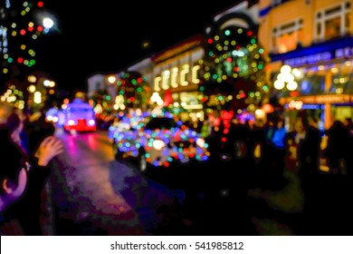 Christmas parade blurred background