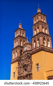 Christmas Parroquia Cathedral Bell Towers Dolores Hidalgo Mexico. Where Father Miguel Hidalgo made his Grito de Dolores starting the 1810 War of Independence in Mexico.  Cathedral built in the 1700s.