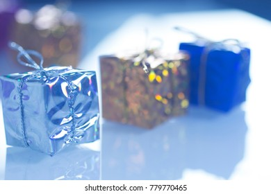 Christmas party celebration presents gift wrapped miniatures.