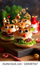 Christmas party idea: Kids Christmas burger Reindeer Sloppy Joe