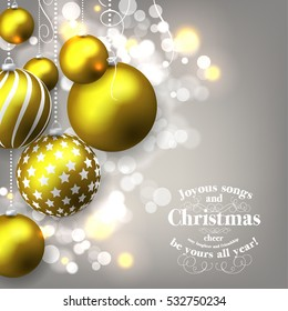 Christmas party invitation poster with decoration balls