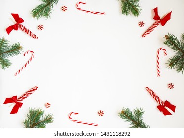 Christmas party supplies on white background. Frame from Christmas party accessories with copy space. Holiday greeting card.