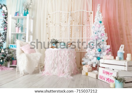 christmas pastel decorations in a studio