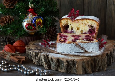 Christmas and Christmas pastries from curd cake with cherry, dessert