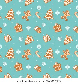 Christmas pattern with Gingerbread cookies.