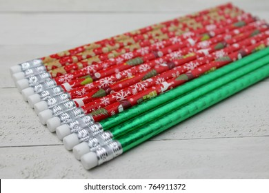Christmas Pencils and Erasers