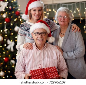 Christmas and people concept-smiling