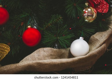 Christmas Pic. New Year background. Christmas tree decorations. Christmas balls (Red, Gold, White) xmas mock up