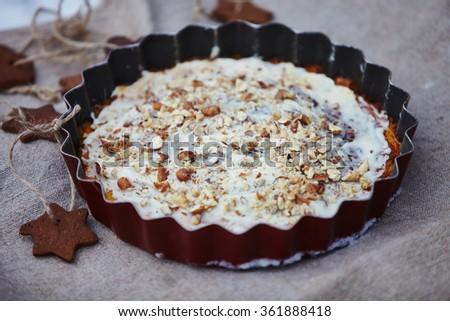 White Christmas Pie.Christmas Pie White Chocolate Nuts Christmas Stock Photo