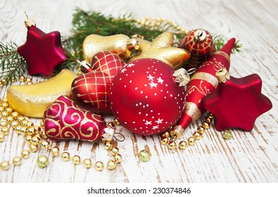 Christmas Pine and Bauble on a wooden background