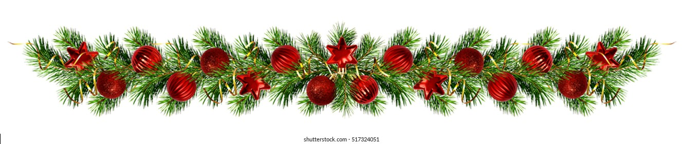 Christmas pine tree twigs and decorations garland isolated on white