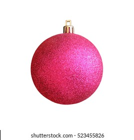 Christmas pink ball isolated on white background with clipping path