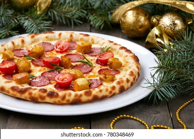 Christmas pizza on the wood board