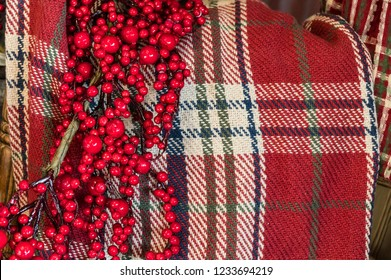 Christmas Plaid Woolen Blanket and Red Holy Berries