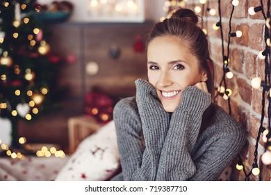 Christmas portrait of cheerful woman