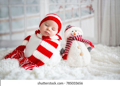 dcb802b4643 Christmas portrait of cute little newborn baby boy