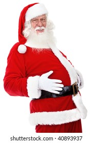 Christmas portrait of Santa grabbing his belly isolated